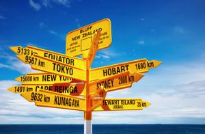 panneaux fléchés jaunes qui indiquent différentes destinations