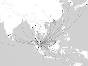 Carte des destinations desservies par Air Asia au départ de Kuala Lumpur